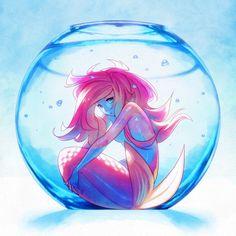 "Beautiful original art painting ""Captive Mermaid"" by Team Ronin on Society6."