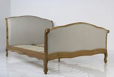 French Country Oak Upholstered 6ft Super King Size Curve Sleigh Bed