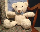 #Crochet baby blanket and matching bear by Careful's Crochet on Etsy