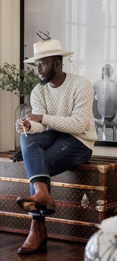 - with a casual fall outfit idea with a waffle texture sweater white hat blue jeans brown boots. Fall Sweaters, Casual Sweaters, Winter Outfits Men, Casual Fall Outfits, Men Casual, Fashion Mode, Mens Fashion, Diy Fashion, Moda Masculina