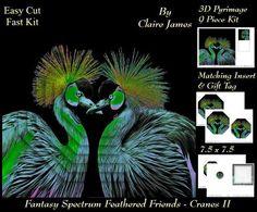 Fantasy Spectrum Birds Beautiful Cranes Heart 2 Tag  on Craftsuprint - Add To Basket!