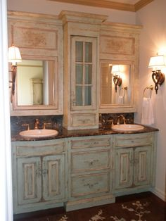 idea to redo bathroom cabinets - I love the double sink and mirrow set up...I would use a different hue of color than the green, but this is awesome!