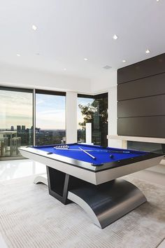 Modern pool table in leisure room or man cave Custom Pool Tables, Pool Table Room, Modern Pools, Game Room Design, Billiard Room, My Dream Home, New Homes, House Design, Interior Design