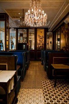 Tiles, velvet & chandelier <3  Chez Coco, Barcelona. More at www.bonmoustachehostel.com