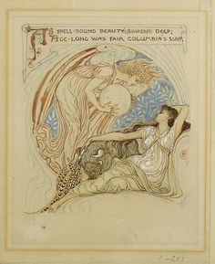 Walter Crane |As spell-bound beauty's, bowered deep, age-long was fair Columbia's sleep. British, 1845-1915