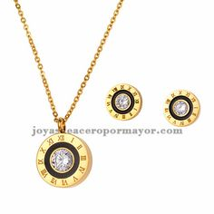 juego collar y aretes de numero roma con cristal en acero dorado inoxidable para…