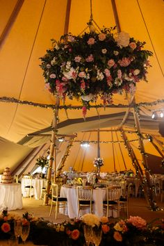 Flower hanging at tipi wedding at Whelprigg House. #weddingflowers Wedding Themes, Our Wedding, Wedding Decorations, Garden Wedding, Wedding Ideas, Wedding Styles, Dream Wedding, Wedding House, Wedding Songs