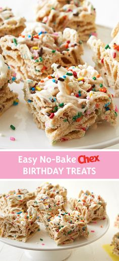 Don& wait till your next birthday, enjoy No-Bake Birthday Cake Bars any time you& craving something special. Made with frosting, sprinkles and Rice Chex cereal for a crunchy, sweet treat that will delight any day of the year. Cake Bars, Dessert Bars, Cereal Treats, Rice Krispie Treats, Chex Cereal, Cereal Bars, Chex Mix, Yummy Treats, Sweet Treats