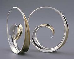 """""""Spiral Earrings""""  Silver & Gold Earrings    Created by Nancy Linkin  Customer Rating: 50 stars 
