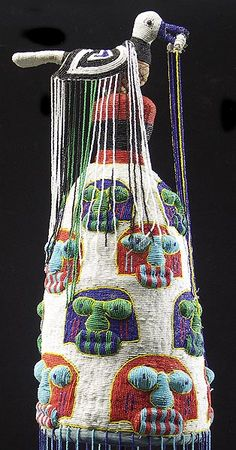 Africa | Detail from a beaded crown from the Yoruba people of Nigeria | 20th century | Imported glass seed beads and fabric