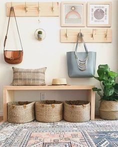 50 DIY Mudroom Ideas » Lady Decluttered Hallway Decorating, Entryway Decor, Entryway Bench, Decorating Bathrooms, Entryway Storage, Decorating Kitchen, Decoration Entree, Hallway Designs, House Entrance