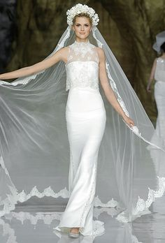 Brides.com: Pronovias Spring 2014 Long Lace Wedding Dress   Click to see more from this collection!
