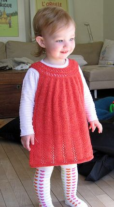 Ravelry: Elvira pattern by Sanne Bjerregaard Crochet Baby Dress Pattern, Knit Baby Dress, Baby Cardigan, Baby Knitting Patterns, Princess Dress Patterns, Baby Girl Dress Patterns, Fairy Dress, Knitting For Kids, Couture