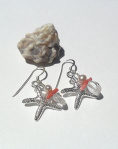 Sea Star earrings, with Aquamarine, Pearl, and Coral, by Joni Russell, Crystal Mist Cottages.