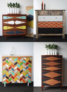 Love these ideas for giving a new life and spirit to furniture !- Interior design - Furniture - Upcycling - Geometric Pattern - Colours - Chest of draws - Painted dressers - DIY