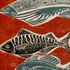Fish Lino Prints by Mangle Prints, via Flickr