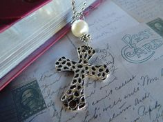Silver chain and cross. by NomadTrade on Etsy, $12.00
