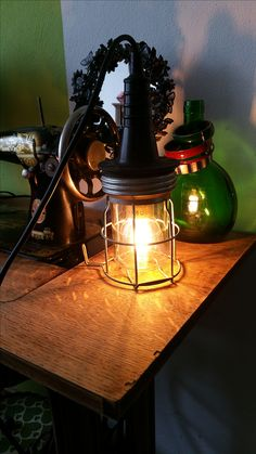 vintage looplamp draadlamp omgebouwd naar tafellamp