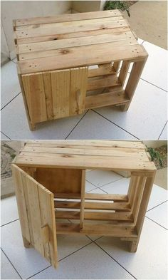 Meuble Chaussure Palette : Here comes such a titanic and majestic designing of the cabinet for your home use all through the wood pallet manufacturing designing in it. You would love the minor level of the cuts and designs artwork being infused in it. Used Pallets, Recycled Pallets, Wooden Pallets, Pallet Wood, Diy Pallet Projects, Woodworking Projects, Pallet Ideas, Pallet Designs, Unique Home Decor