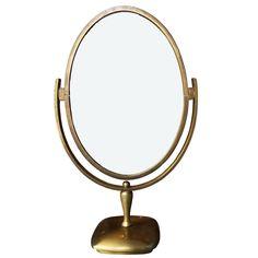 Charles Hollis Jones Vanity or Table Mirror in Antique Brass | 1stdibs.com