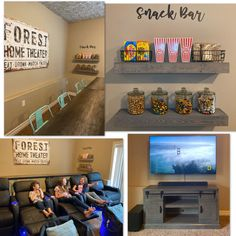 Home Theater Room Our Basement Makeover - Chaylor & Mads Theater Room Decor, Movie Theater Rooms, Home Cinema Room, Home Theater Design, Movie Rooms, Basement Bar Designs, Home Bar Designs, Basement Ideas, Basement Makeover