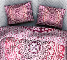 Indian Pink Ombre Mandala Duvet Pillow Cover Bohemian Cushion Pillow Case Throw #HandicraftPalace #Traditional #PillowCoverPillowShamCushionCover