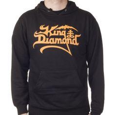 OFFICIAL ~ KING DIAMOND Logo (Orange on Black) hoodie