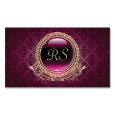 Elegant Vintage Floral Monogram Gold and Purple Business Card Templates