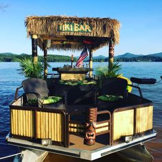 Aqua Tiki - Party Boats with Island Vibes Boot Dekor, Pontoon Boat Party, Pontoon Seats, Barge Boat, Ski Nautique, Party Barge, Boat Parade, Tiki Party, Tiki Hut