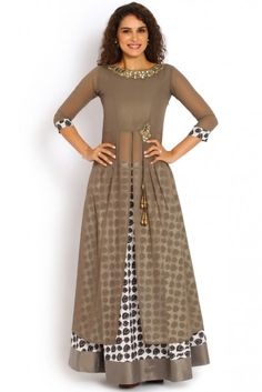 Soch Grey and Gold Georgette Kurti Suit - SNDA KS 70001