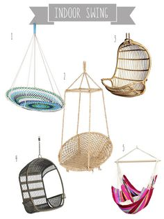Undeclared Panache: Right Now I'm Feeling - Indoor Swing! I want one of these in the house so bad lol Hammock Chair, Swinging Chair, Swing Chairs, Hanging Chairs, My New Room, My Room, Indoor Swing, Indoor Playground, My Home Design