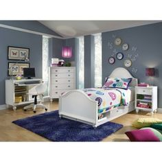 Home Design and Interior Design Gallery of Beautiful Butterfly White Furniture Grey Wall Paint Color Youth Bedroom Decor Designs Kids Storage Furniture, Bedroom Furniture, Home Furniture, Bedroom Decor, Bedroom Ideas, Furniture Showroom, Bed Frame And Headboard, Bed Frames, Bedroom Photos