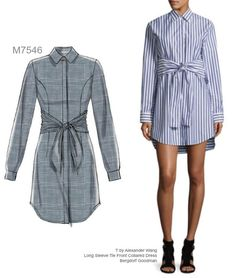Sew the Look: McCall's M7546 tie front shirt dress sewing pattern.