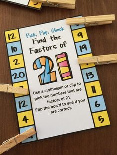Factors Pick, Flip and Check cards by Games 4 Learning - The fun way to review factors. Just clip the factors of the number then flip to see if you are correct! $