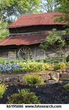 Old Barn and Wagon Wheel View Large Photo Image