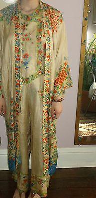 1920s Vintage 100 Fine Silk Flapper RARE Kimono Robe and Pajamas Art Deco Outfit | eBay