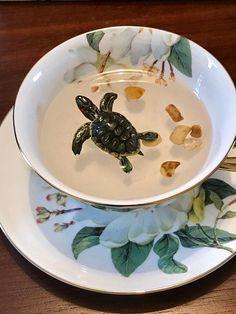 Polymer clay turtle on china bone tea cupdecorated tea