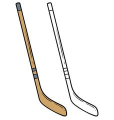 Cartoon Wooden Retro Ice Hockey Stick Isolated On White Background Vector Icon For Coloring Ad Ice Hockey Stick Ice Hockey Sticks Ice Hockey Retro