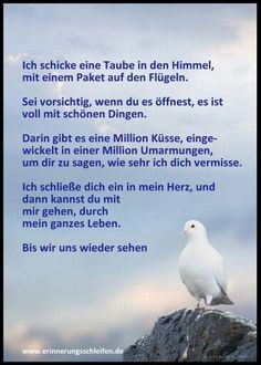 Ich schicke dir eine Taube in den Himmel, mit einem Paket auf den Flügeln. Sei vorsichtig, wenn du es öffnest, es ist voll mit schönen Dingen. Darin gibt es Millionen Küsse, einwickelt in Millionen Umarmungen, um dir zu sagen, dass ich dich vermisse. Ich schließe dich ein in mein Herz, und dann kannst du mit mir gehen, durch mein ganzes Leben. Bis wir uns wiedersehen. :-( :'( - #auf #bis #Dann #darin #dass #den #dich #Dingen #dir #du #durch #ein #eine #einem #einwickelt #es #Flügeln #ganzes…