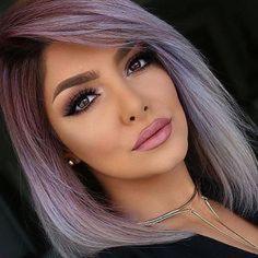 Fall 2018 hair color trends - New Hair Styles ideas Silver Purple Hair, Lavender Grey Hair, Lilac, Greyish Purple Hair, Gray Purple Hair, Purple Haze, Pink Purple, Hair Color And Cut, Funky Hair Colors