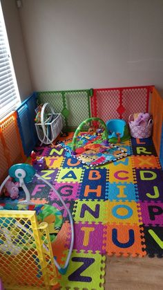 Baby play area in living room