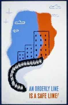 An orderly line is a safe line!  WPA poster promoting safety during civil defense air raid drills.