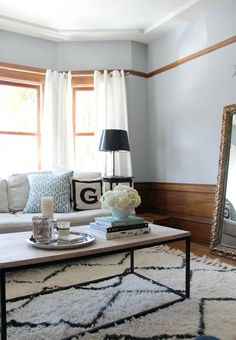 Souk Rug + Box Frame Coffee Table from West Elm via @Apartment Therapy