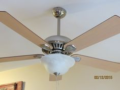 DIY Ceiling Fan Makeover, With Modern Masters Paint - A few day's ago I did some wall accents using Modern Masters Metal Effects Paint, so when my husband came…