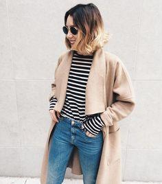 Viktoria Dahlberg sur Instagram : #happytuesday #ootd #coat #stripes #zara #acne