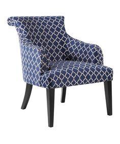 Navy Quatrefoil Accent Chair #zulily #zulilyfinds
