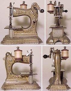 ❤✄◡ً✄❤ Art Nouveau inspired in design, the Muller 6 was produced for a number of years from the turn of the last century.  The machines were gilded over bright nickel plating, therefore real eye catchers.  The example featured here incorporates the standard four-motion feed   - http://www.dincum.com/library/lib_muller6.html