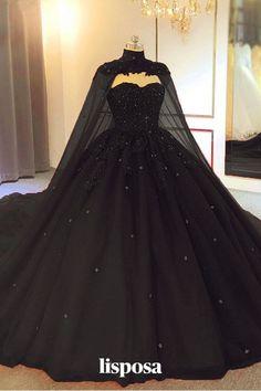 Wedding Dress Black, Sweetheart Wedding Dress, Dream Wedding Dresses, Gown Wedding, Church Wedding, Formal Wedding, Wedding Hijab, Wedding Dresses With Cape, Dress Wedding