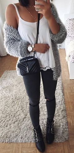 what to wear with a grey knit cardi top   bag   rips   boots