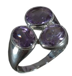 925 Solid Sterling Silver Ring Natural Amethyst Gemstone US Size 8.75 JSR-659 #Handmade #Ring